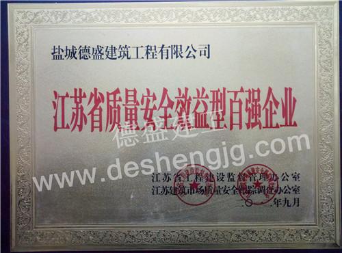 江苏省质量安全效益型百强企业